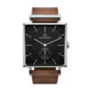 Square Granit Black Deluxe Watch with Cognac Leather Strap by Carl Edmond