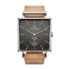 Square Granit Gunmetal Watch with Natural Leather Strap by Carl Edmond