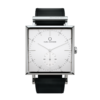 Square Granit White Deluxe watch with Black Leather Strap by Carl Edmond