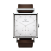 Square Granit White Deluxe watch with Dark Brown Leather Strap by Carl Edmond