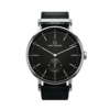Round Ryolit Black Deluxe Watch with Black Leather Strap by Carl Edmond