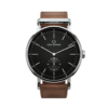 Round Ryolit Black Deluxe Watch with Dark Brown Leather Strap by Carl Edmond