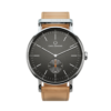 Round Ryolit Gunmetal Watch with Natural Leather Strap by Carl Edmond