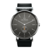 Round Ryolit Gunmetal Watch with Black Leather Strap by Carl Edmond