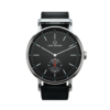 Round Ryolit Limed Spruce Watch with Black Leather Strap by Carl Edmond