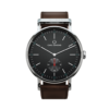 Round Ryolit Limed Spruce Watch with Dark Brown Leather Strap by Carl Edmond