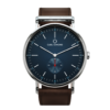 Round Ryolit Navy Blazer Watch with Dark Brown Leather Strap by Carl Edmond