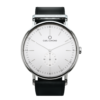 Round Ryolit White Deluxe Watch with Black Leather Strap by Carl Edmond Strap