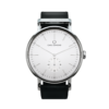 Round Ryolit White Deluxe Watch with Black Leather Strap by Carl Edmond