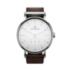 Round Ryolit White Deluxe Watch with Dark Brown Leather Strap by Carl Edmond