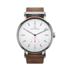 Round Ryolit White Watch with Cognac Leather Strap by Carl Edmond
