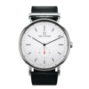 Round Ryolit White Watch with Black Leather Strap by Carl Edmond