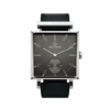 Square Granit Gunmetal Watch with Black Leather Strap by Carl Edmond