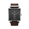 Square Granit Limed Spruce Watch with Dark Brown Leather Strap by Carl Edmond