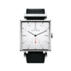 Square Granit White Watch with Black Leather Strap by Carl Edmond