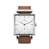 Square Granit White Watch with Cognac Leather Strap by Carl Edmond