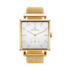 A square Granit White Deluxe Gold watch with a Gold Mesh Strap by Carl Edmond
