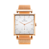 A square Granit White Deluxe Watch with Rose Gold Mesh Strap by Carl Edmond