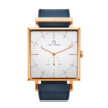 A square Granit White Deluxe Rose Gold watch with Ocean Blue Strap by Carl Edmond