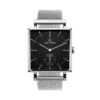 A Square Granit Black Deluxe Watch with Silver Mesh Strap by Carl Edmond