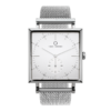 A Square Granit White Deluxe Watch with Silver Mesh Strap by Carl Edmond