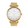 A round Ryolit White Deluxe Gold Watch with Gold Mesh Strap by Carl Edmond