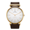 A round Ryolit White Deluxe Gold Watch with Dark Brown Leather Strap by Carl Edmond
