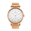 A round Ryolit White Deluxe Rose Gold Watch with Rose Gold Mesh Strap by Carl Edmond