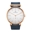 A round Ryolit White Deluxe Rose Gold Watch with Ocean Blue Leather Strap by Carl Edmond