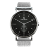 A round Ryolit Black Deluxe Silver Watch with Silver Mesh Strap by Carl Edmond