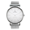 A round Ryolit White Deluxe Silver Watch with Silver Mesh Strap by Carl Edmond